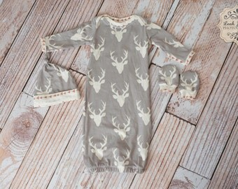 Arrows Deer Baby Gown, Mitts, and Hat Baby Shower Gift/ Hunting Baby Gown/ Deer/Buck Horns Arrow Trim Baby Gown