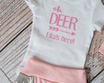 Oh Deer Baby's here in Pink Bodysuit Long or Short Sleeve
