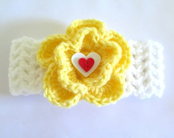 Crochet White Baby Girl Headband with Yellow Flower Choice of Buttons