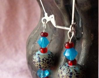 robin's eggs speckled bead earrings