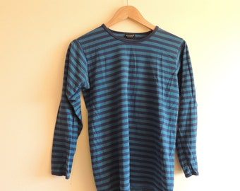 Vintage MARIMEKKO Blue and dark blue striped Cotton long sleeve top, Made in Finland, size 160