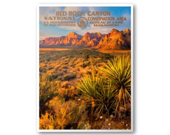 Red Rock Canyon National Conservation Area Travel Poster & Postcard