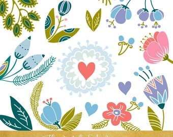 Cute Floral Clipart Set - Blue & Green Tones - INSTANT DOWNLOAD - 25 .PNG Images