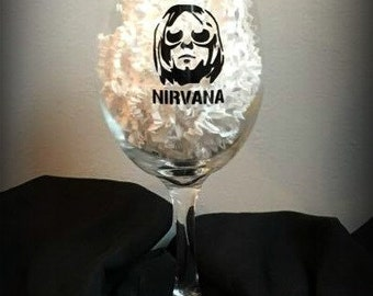 Nirvana Wine Glass/Kurt Cobain/Wine Glass/Pint Glass/Beer/Tumbler/Mug