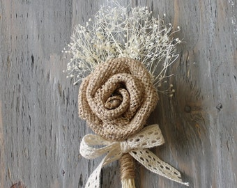 Rustic Boutonniere Groom Boutonniere Groomsman Boutonniere Dried Flowers Mens Wedding Burlap Boutonniere  Wedding  Ivory Boutonniere