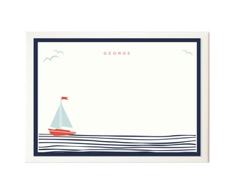 Sailing boat personalised notecards. Boxed set of 30.