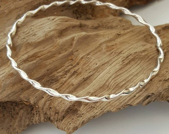Twisted sterling silver bangle