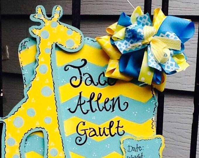 Baby announcement sign, baby hospital door sign, giraffe sign, newborn announcement sign, newborn sign, nursery door sign, nursery room sign