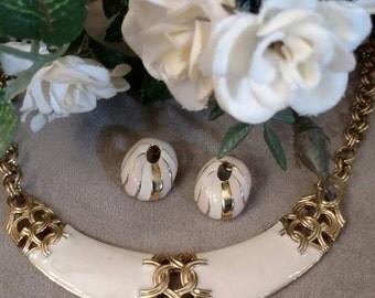 FREE SHIPPING Ivory Choker, Enamel, Posts Earrings, Vintage Set, Gold Tone, Art Deco