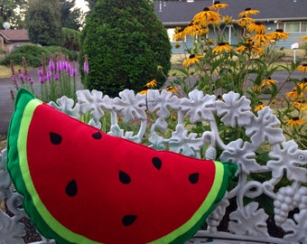 Watermelon Pillow , Melon Plush, Geeky felt stuffed plush toy pillow