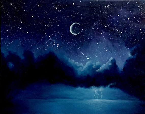 Space, moon, painting