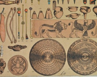 Assyrians and babylonians weapons, tools and utensils. Antique print,1894.  121 years old print.  11,5 x 8,4 inches.
