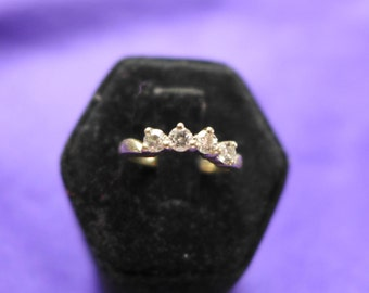 Estate Vintage -Solid-White  Gold-Ring-14KT-Size- 4.5 Four Small Diamond Engagement Ring