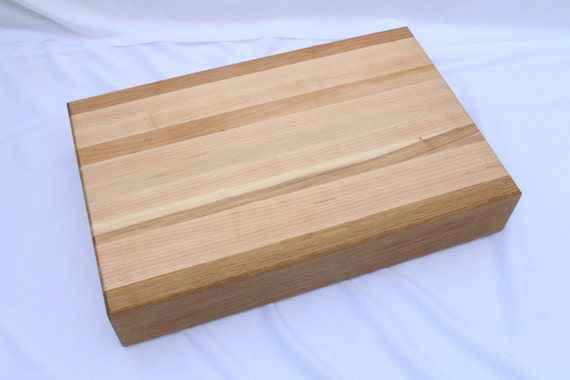 Butcher Block Cutting Board Handmade Hickory Maple White