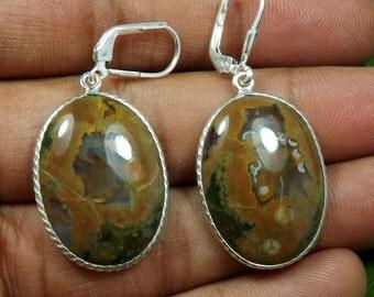 Rhyolite Gemstone, Rhyolite Gemstone Earring, Rhyolite Earring, Silver Earring, 925 Sterling Silver, Fine Silver Earring,Bezel Earring 10001