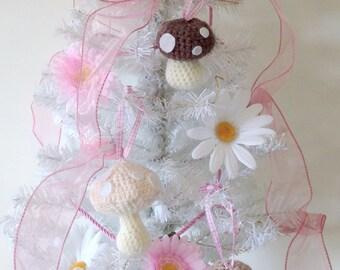 Crochet toadstool Christmas tree ornaments