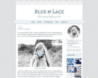 Pretty Blogger Template. Blue & Lace. Responsive theme for Blogger. Premade blog design. Cute template with soft cloth and lace textures