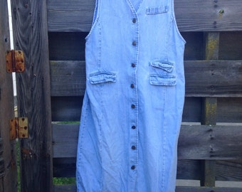 Vintage denim button down dress