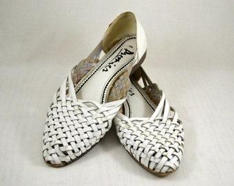Vintage vtg 1980s 80s White Huaraches Sandals Flats Woven Shoes Size 8 Women's Shoes Accessories