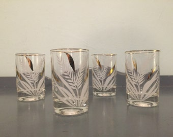 "25% SALE *** Four Libbey ""Wheat"" Juice Glasses with Gold & White Wheat Motif and Gold Rims"