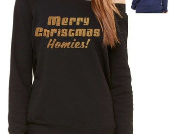 Red Homies Sweatshirt Custom off the Shoulde...