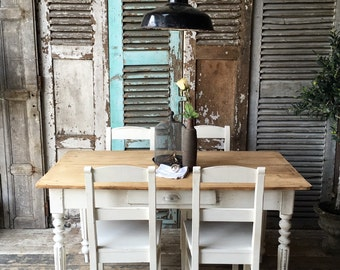 Vintage French rustic Farmhouse table and 4 matching chairs