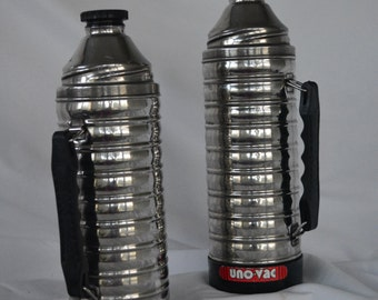 Pair of UNO-VAC Steel Thermos * Ribbed Steel Thermos * Retro Thermos * Vintage Camper * Glamping * Picnic * Hot & Cold Beverages * Coffee *