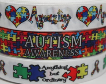 Autism Awareness 7/8 Inch Grosgrain Ribbon by the Yard for Hairbows, Scrapbooking, and More!!