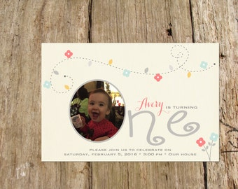 First Birthday Photo Invitation, Whimsical Design, Digital Printable File