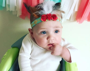 Boho gypsy feather headband