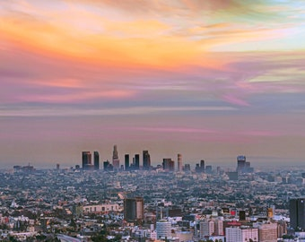 Downtown Los Angeles Photography Print or Wrapped Canvas Cityscape Sunset Hollywood California Fine Art  Photograph Wall Art Decor