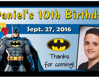 12 BATMAN Birthday Party Favors Personalized photo MAGNETS ~ Free Shipping