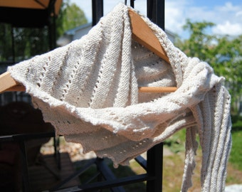 Saw toothed Scarf, hand knit in silk/cotton