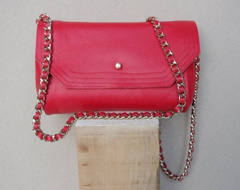 Red Leather Envelope Clutch Cross Body with Long Gold Chain Threaded with Leather