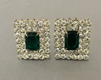 Fabulous Rhinestone Earrings-Vintage Rectangle with Emerald Green Center-Clip Earrings, Bridal Jewelry ,Costume Jewelry, Statement