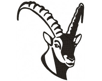 Embroidery file Ibex head frame 13 x 18 embroidery file embroidery Ibex head