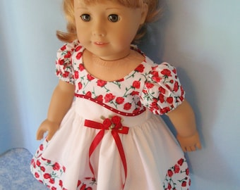 American Girl Doll Dress Roses for Maryellen Fifties Dress Hand Crafted 18 Inch Doll Clothes