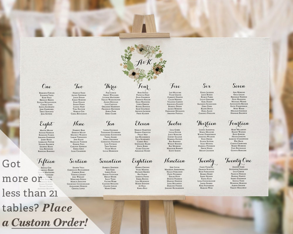printable wedding table seating chart template watercolor calligraphy