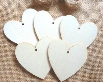 Set of 5 Plain Wooden Hearts Tags 6cm