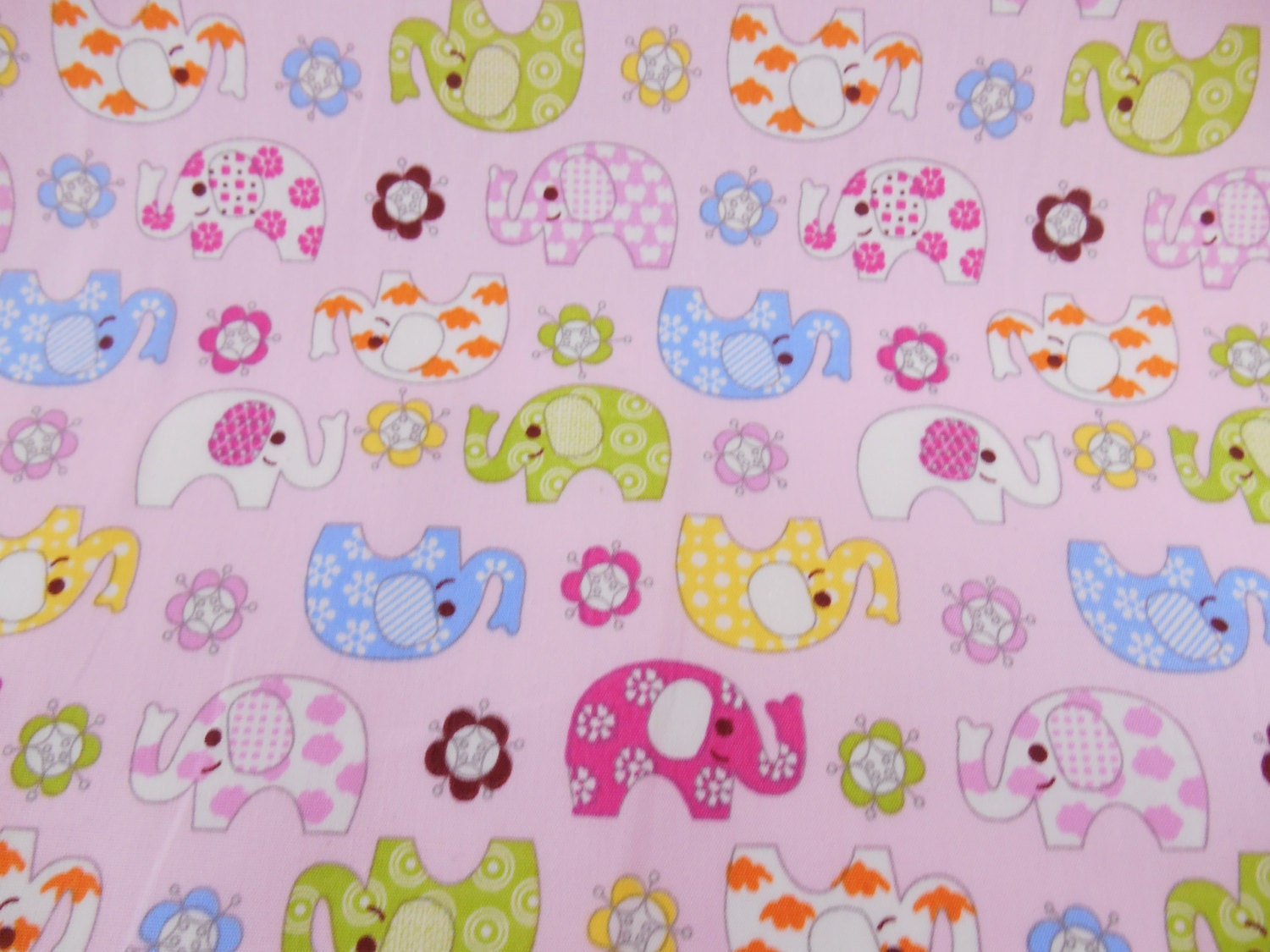 Rose and hubble cotton fabric elephants pink nursery abric for Nursery cotton fabric