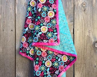 Baby girl flower blanket - mulitcolored infant girl blanket - baby shower gift - minky baby blanket