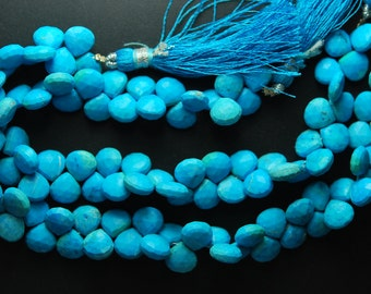 8 Inches, Full Strand Rare Blue Turquoise Faceted Heart Briolettes, Size 7-8mm