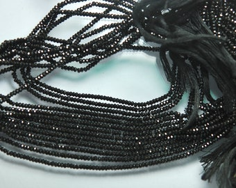 13'' Strand, AAA Quality Finest Cut Natural Black Spinel Faceted Rondelles, 2.5mm