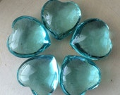Aqua Obsidian Gemstone Heart-Hand Carved Gemstone Heart- Puffy Hearts- Palm Stone-Crystal Heart