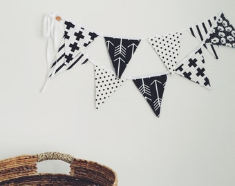 Black and white fabric party flags garland 10' anniversary garland nursery decor photoshoot wedding shaby-chic photo props