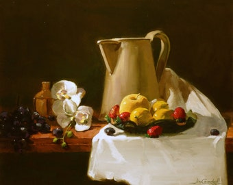 "Original Still Life Painting, "" Yellow Apples & Strawberries "". 20 x 24 inches."