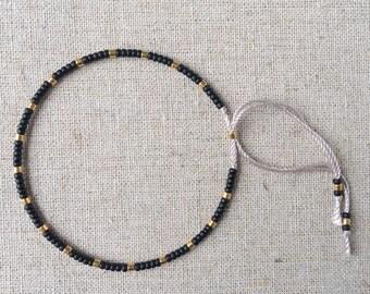 Fine Bead Bracelet, Black and Gold Bead Stack Bracelet, Friendship Bracelet, Gift for her