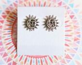Sterling Silver Celestial Sun And Moon Earring Studs, Boho Jewelry, Celestial, Handmade Earrings, Gift Ideas for Her