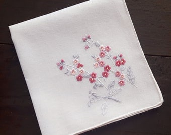 Very pale pink cotton vintage handkerchief with embroidery