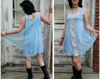 Size M/L vintage 60s lingerie babydoll nighty trapeze swing dress / pastel blue sheer nylon /Pastel Goth Kawaii Wedding something old blue